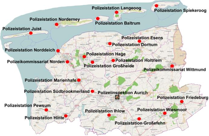 Polizeidienststellen Aurich Wittmund