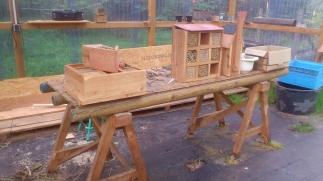 Bienehotel in der Werkstatt